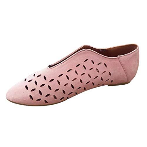 Wawer_Damen Sandalen  Frauen-beiläufige Art und Weise Rom niedrigen Absätzen Spitzschuh aushöhlen Beleg auf Schuhe Stiefel, Plateauschuhe Lazy Shoes Freizeitschuhe Einzelschuhe - Arbeit Für Stiefel Rosa Frauen
