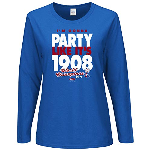 Smack Apparel Chicago Baseball Fans. I 'm Gonna Party Like It 's 1908 Champions Damen Long Sleeve Shirt (SM-2 x) Kombi, Damen Mädchen, Königsblau, XX-Large - Nur Baseball Jersey