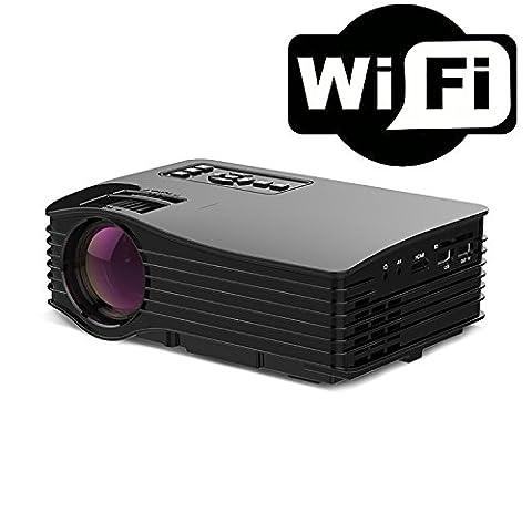 Mini projecteur sans fil (via WiFi avec écran de synchronisation Android / IOS / Windows) (prend en charge USB / SD / HDMI / IR) Game Console1000 Lumens Portable HD LED Projector , black