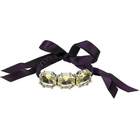 Lux accessori viola tessuto grande cristallo Dichiarazione Bracciale