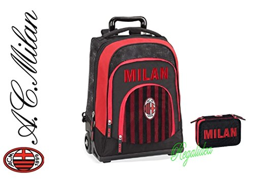 001361db01 TROLLEY ZAINO SCUOLA Milan Milano ORIGINALE NUOVA COLLEZIONE rossonero calcio  tifoso + ASTUCCIO BORSELLINO 3 PIANI ...