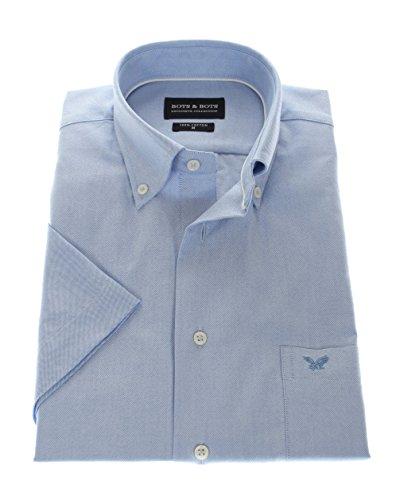 167004 Bots & Bots Kurzarmhemd - Exklusive Oxford Qualität - Baumwolle Button Down Kragen Normal Fit Blau