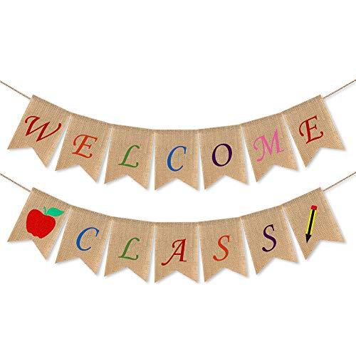 Wimpelkette für Lehrer - Back to School zum Aufhängen - Banner - First Day of School, Klassenzimmer-Dekoration, Back to School Party Dekorationen