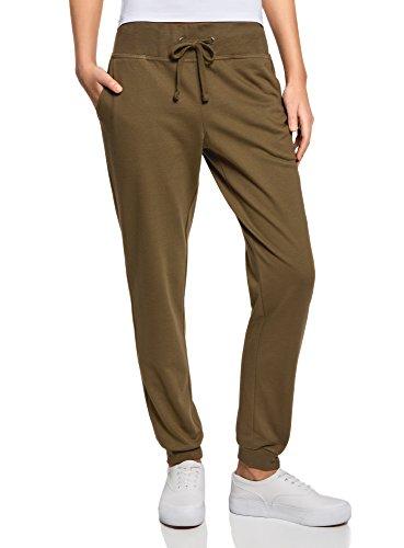 oodji Ultra Femme Pantalon de Sport en Maille, Vert, FR 36 / XS