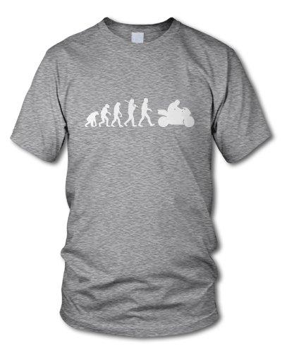 shirtloge - EVOLUTION BIKER - KULT - Fun T-Shirt - in verschiedenen Farben - Größe S - XXL Grau-Meliert (Weiß)