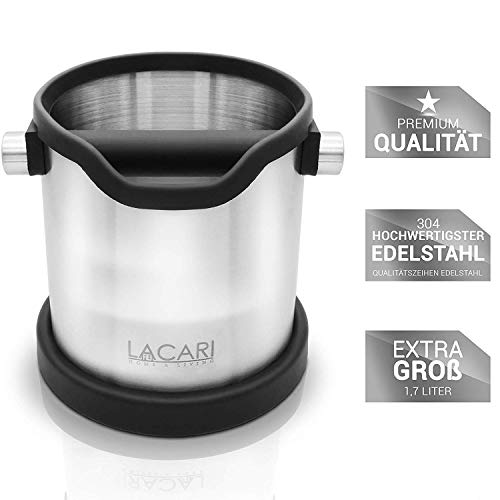 Lacari ® Premium Abschlagbehälter - Perfekt Für Espresso Kaffeemaschine - Hochwertiger Abklopfbehälter Aus Edelstahl - Kaffe Zubehör Für Siebträger - Abschlagbox Für Saubere Entsorgung Von Kaffeesatz