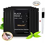 Black Mask, Deep Cleansing purifying peel off Mask, Mineral Mud Blackheads Acne Nasal Membrane , Deeply Root Out Acne, Blackheads and Strawberry Nose , Tearing style Deep Cleansing Nose Mask (12PC)