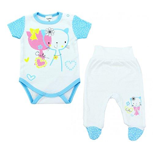 2er Baby Bekleidungsset für Mädchen oder Jungen: Kurzarm-Body mit Aufdruck & Strampelhose mit Fuß, Farbe: Katzen Türkis, Größe: 62