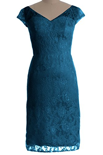 MACloth donne personalizzata V Neck Lace Short Dress Cocktail Abito Madre della Sposa Teal 42