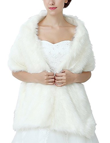 Bbonlinedress Kunstpelz shawl Wrap Scarf Warm Stola Cape Hochzeit Braut Schal Ivory 165cmX30cm