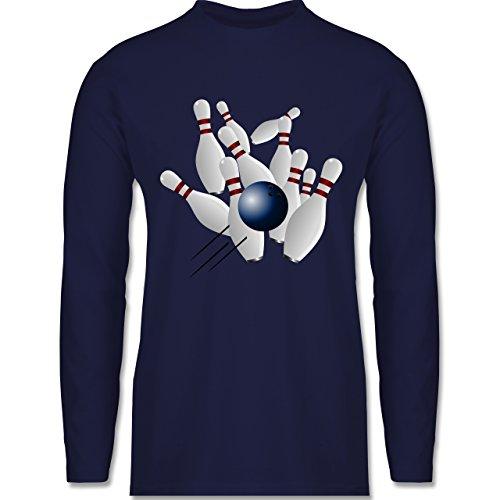 Shirtracer Bowling & Kegeln - Bowling Strike Pins Ball - Herren Langarmshirt Navy Blau