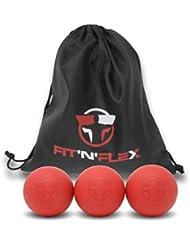 FIT'N'FLEX Balle de Massage Haute Densité pour Éliminer les Tensions Musculaires et les Trigger Point - Lot de 3 Balles Fermes Rouges avec Sac de Rangement