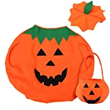 Tinksky Kinder Kürbis Kostüm Anzug Kürbis Eimer Halloween Foto Booth Stütze Dress Up Kleidung mit Tasche