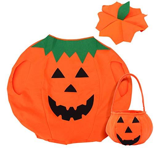 Halloween Kostüm Up Dress Kind - Tinksky Kinder Kürbis Kostüm Anzug Kürbis Eimer Halloween Foto Booth Stütze Dress Up Kleidung mit Tasche