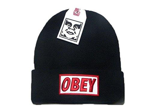 OBEY protezione del cappello Beanie Lana (nero, rosso