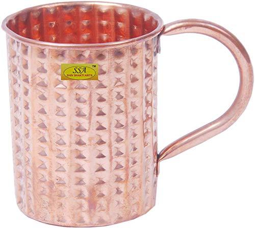 Shiv (TM Shakti Arts handgefertigt reines Kupfer Moscow Mule Becher Diamond Design mit flachen Boden und mit Kupfer Griff Homeware Hotelware Geschirr Geschirr 14Unzen Trinken Tasse Diamond Becher