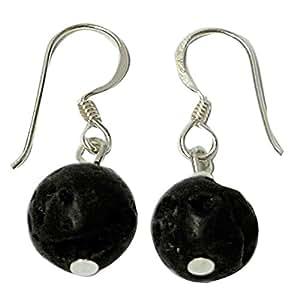 Dames Boucles d'oreille argent Chic-Net pierre de lave Lavasteinohrringe boucles d'oreilles 925 bijoux en argent sterling balle