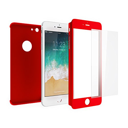 Cover iphone 6s plus / 6 plus 360 gradi + pellicola vetro temperato, mobilyos® [ 360 ° ] [ rosso ] custodia iphone 6s plus full body ultra slim + pellicola protettiva in vetro temperato iphone 6s plus / 6 plus
