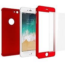 Funda iPhone 6s 360 Integral Para Ambas Caras + Protector de Pantalla de Vidrio Templado, Mobilyos® [ 360 ° ] [ Rojo ] Case / Cover / Carcasa iPhone 6s / 6