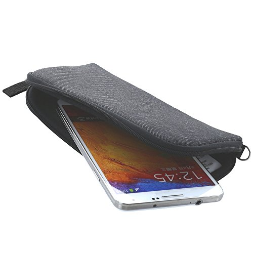 Handyhülle mit Handschlaufe 7.2 - universal Größe 3XL für z.B. Huawei Honor 6X / LG X-Power / ZTE Axon 7 - Handytasche schwarz/grau