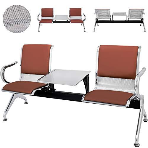 Techlifer Wartebank Gitterbank Wartezimmer Bank Stühle Wartebank mit Rückenlehne für Flughafenbank Büro Friseursalon Krankenhaus Markt (2 Sitzplätze Semi-PU) (Sitzbank Mit Leder Rücken)