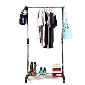 AOJIA Portant / Penderie à vêtement hauteur et largeur réglables avec roulettes