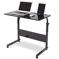 DlandHome 80 * 40cm Computertisch Lernen Schreibtich Pflegetisch Bettisch Frühstückstisch Höhenverstellbar mit Rollen Beistelltisch für Büro Schlafzimmer Mit Tablet-Steckplatz Schwarz