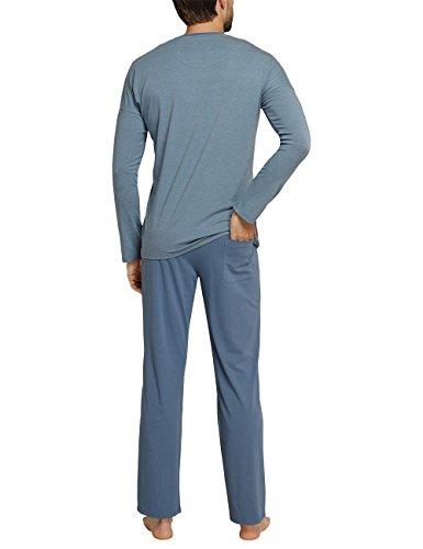 Schiesser Herren Zweiteiliger Schlafanzug Anzug Lang Blau (Petrol 811)