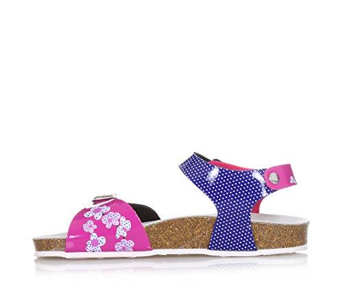 GRUNLAND - Sandale blanche et rose avec boucle, semelle intérieure en mélanges de latex et liège, fille, filles Bleu/Fuchsia