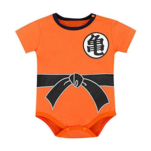 Lonshell Kinder Jungen Mädchen Strampler Dragon Ball Anime Cosplay Outfits mit Perücke für 0-18 Monate Neugeborenes Baby Spielanzug Bodysuit Einteiler Spieler Kurzarm Overall Babybodys (Mama 2 Perücke)