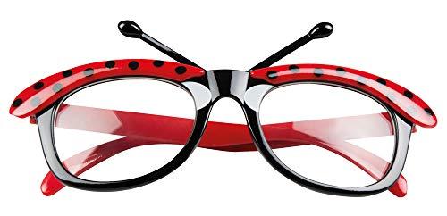 Das Kostümland Marienkäfer Brille für Erwachsene - Rot/Schwarz - Zubehör Ladybug Glückskäfer Kostüm Fasching Mottoparty Junggesellenabschied