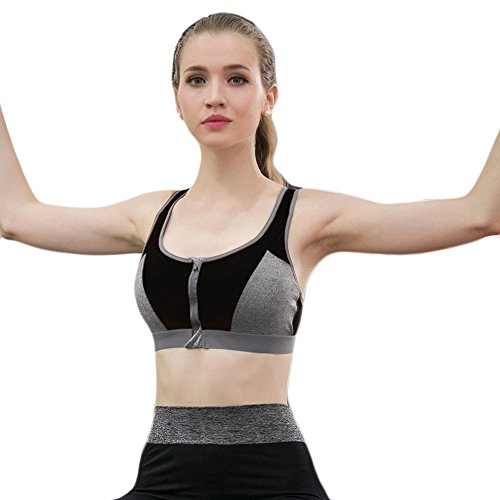 Ming Brassière de sport à double avec Zips Sans Armature Sèche vite Professionnel Noir