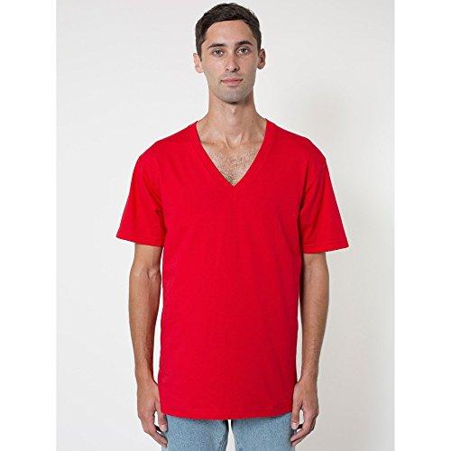 American Apparel Unisex T-Shirt mit V-Ausschnitt, Kurzarm Rot