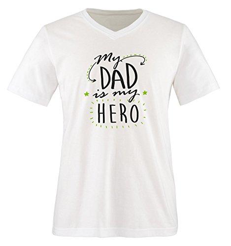 Comedy Shirts - My DAD is My Hero - Herren V-Neck T-Shirt - Weiss/Schwarz-Grün Gr. L -