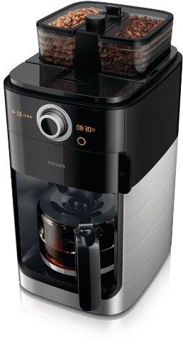 Philips HD7762/00 Grind&Brew Kaffeemaschine, schwarz/Metall, doppelter Bohnenbehälter