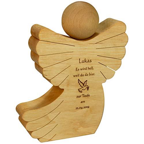 Geschenke 24 Holz Engel mit Gravur - Holzfigur zur Taufe mit Name und Datum personalisiert - Taufgeschenk für Mädchen und Jungen