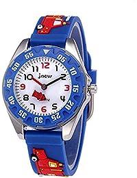 Kinderuhren Analog für Jungen Mädchen, Kinder Sport Wasserdicht 3D Cute Cartoon Spielzeug Uhr, Armbanduhr Jungen Mädchen Teaching Handgelenk Uhren Kleinkinder Geschenk (Blau)