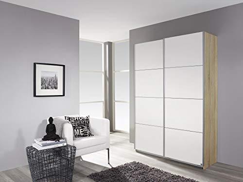 Rauch Möbel Minosa, Schrank Schwebetürenschrank   2-türig, inklusive Zubehörpaket Basic 2 Einlegeböden, Weiß/Eiche Sonoma, 48 x 137 x 197 cm