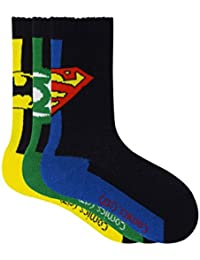 Justice League Kids Crew Socks - Superman, Batman, Green Lantern - Pack of 3