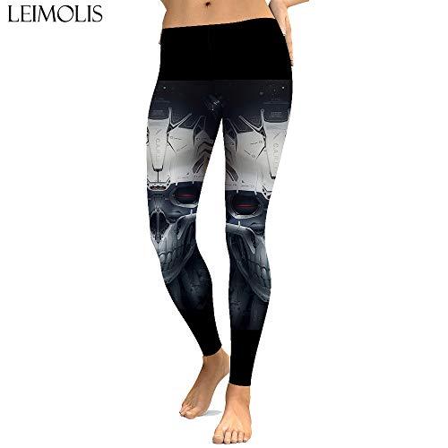 LEIMOLIS Leggings con Estampado de Calavera mecánica gótica...