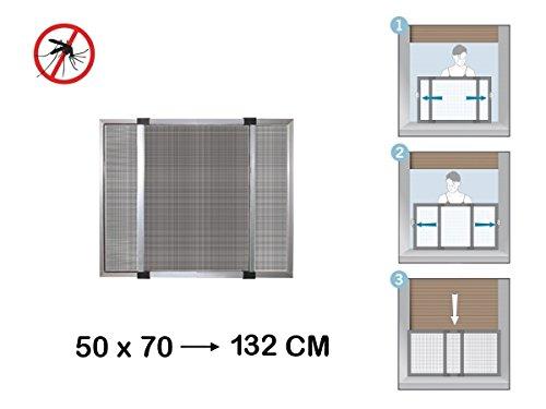 Zanzariera estensibile in alluminio con telaio per porte/finestre con tapparella 50x70/132 cm