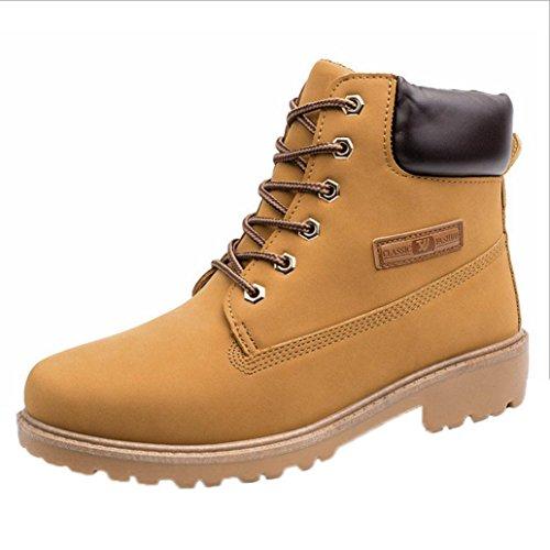 Amlaiworld Zapatillas Hombre Zapatos casuales de hombres Shoes Botines con cordones de hombre Martin Botas de cuero (Amarillo, EU43 /CN 44)