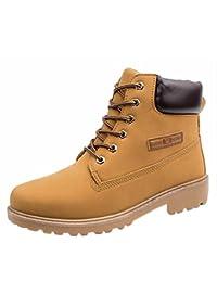 Amlaiworld Zapatillas Hombre Zapatos casuales de hombres Shoes Botines con cordones de hombre Martin Botas de cuero (Amarillo, EU42 /CN 43)