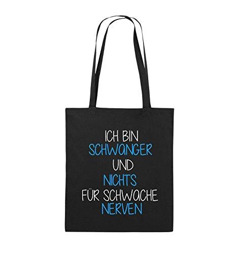 Comedy Bags - Ich bin Schwanger und nichts für schwache Nerven. - Jutebeutel - lange Henkel - 38x42cm - Farbe: Weiss / Schwarz-Pink Schwarz / Weiss-Hellblau
