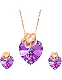 Yellow Chimes Crystals from Swarovski 925 Silver Base Provincial Series Crystal Pendant Set for Women and Girls