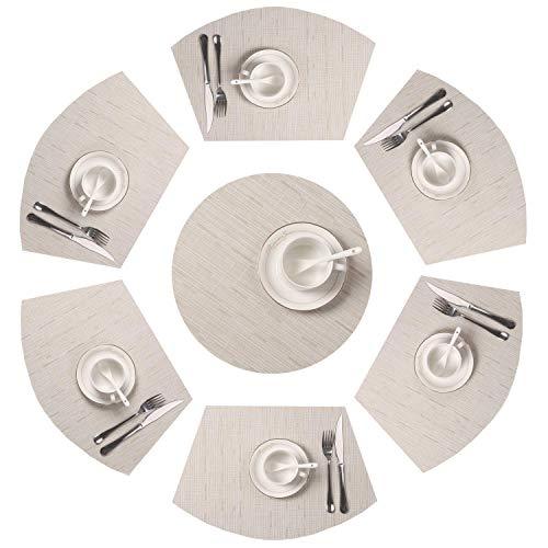 SHACOS 7er Set Tischsets,PVC Keilförmige Platzsets Abwaschbar Hitzebeständig und Verschleißfest und Schmutzabweisend,Ideal für Küche,Dekoration usw. (Beige,7)