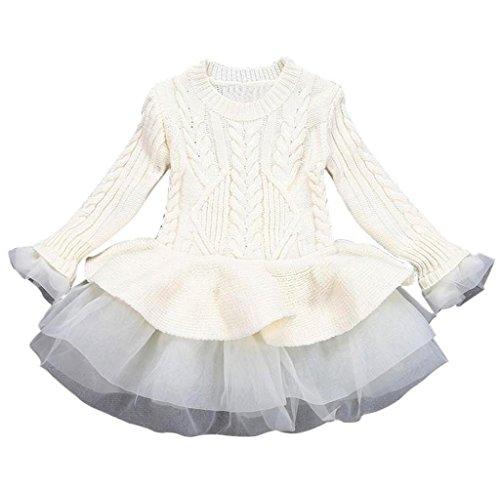 Mädchen Gestrickt Sweatshirt Winter Pullovers Hirolan Kinder Häkeln Tutu Kleid Tops Kleider (140cm, Beige) (Gestreifte Gestrickte Pullover)