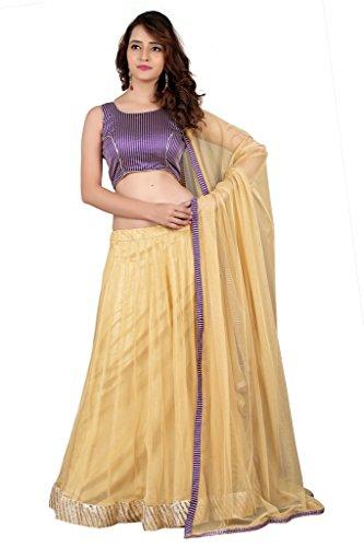 BanoRani Womens Purple & Beige Color Banarasi Silk & Net Self Design with Zari & Lace work Unstitched Lehenga Choli  available at amazon for Rs.1199