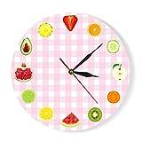 Horloges murales 12 Types De Fruits Frais Tranche De Fruits Boutique Franchise Coloré Temps Silencieux Sport Élégant Moderne Design Salon Chambre Décor À La Maison Bureau Hôtel École Creative...