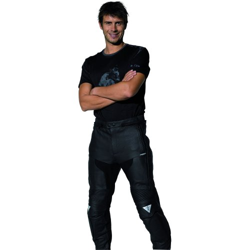 Racer Pantalones Cuero, Negro, Talla 48